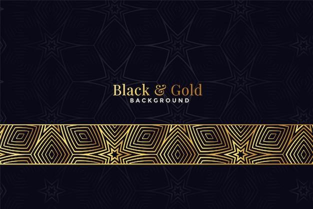 Mooi zwart en gouden patroon Gratis Vector