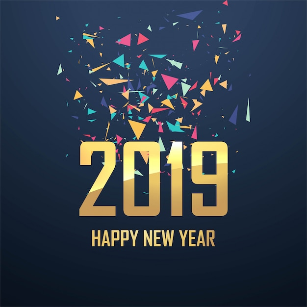 Mooie 2019 nieuwe de vierings van de jaarkaart vector als achtergrond Gratis Vector