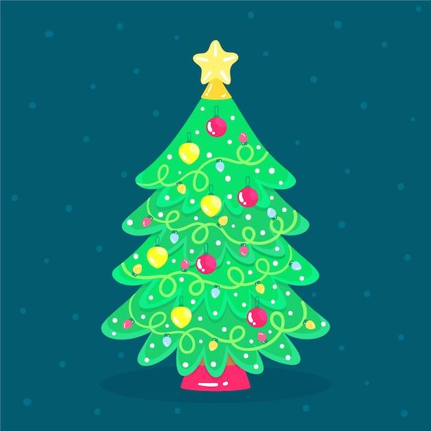 Mooie 2d kerstboom Gratis Vector
