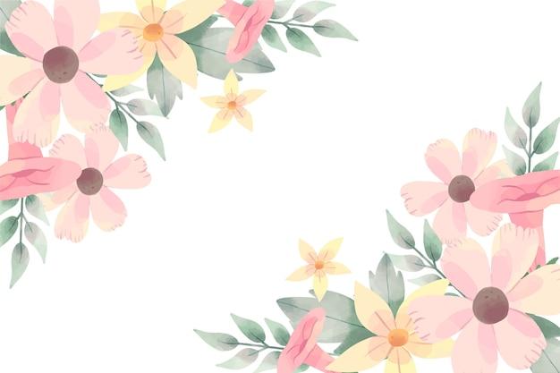 Mooie achtergrond met aquarel bloemen in pastel kleuren Gratis Vector