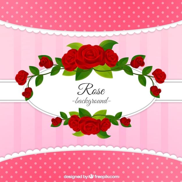 Mooie achtergrond met decoratieve rode rozen Gratis Vector