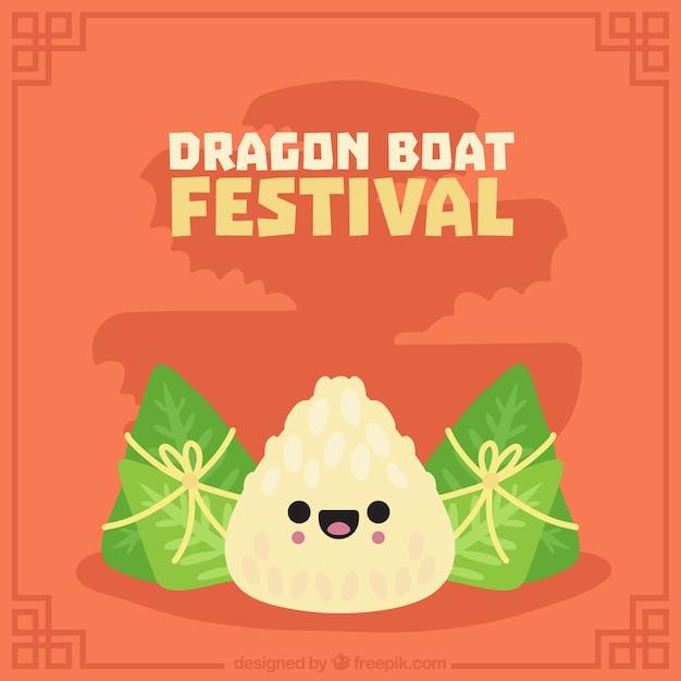 Mooie achtergrond van drakenboot festival traditionele gerechten Gratis Vector
