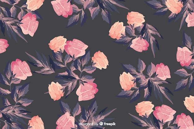 Mooie achtergrond van het waterverf de bloemen naadloze patroon Gratis Vector