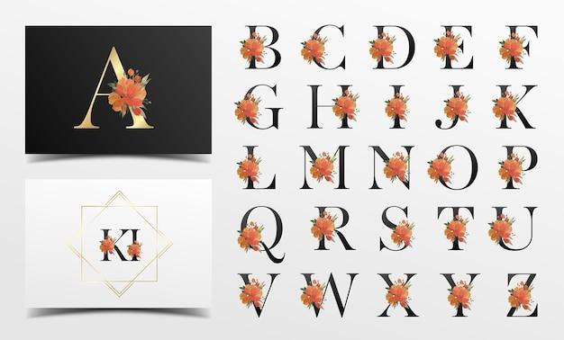 Mooie alfabetcollectie met aquarel bloemendecoratie Gratis Vector