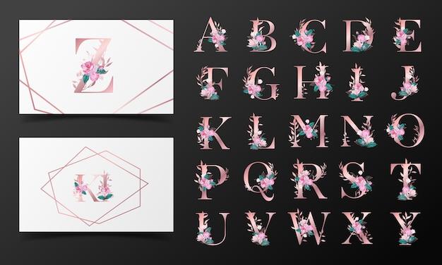 Mooie alfabetcollectie versierd met bloemenwaterverfstijl Gratis Vector