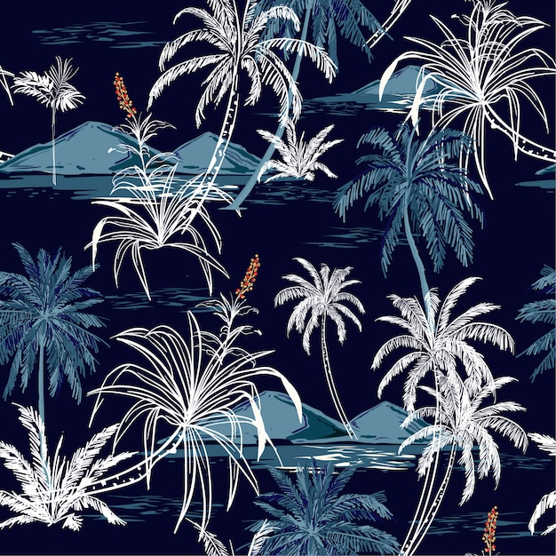 Mooie aloha monotone blauwe naadloze het patroonvector van het eiland. Premium Vector