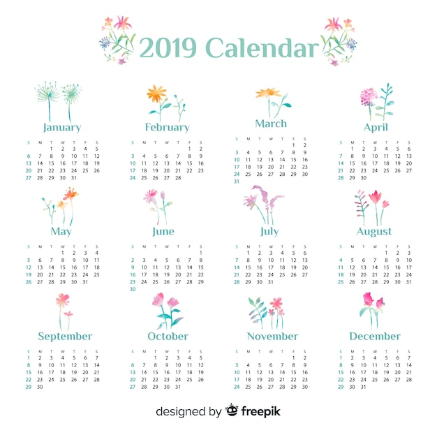 Mooie aquarel 2019 kalendersjabloon Gratis Vector