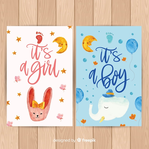 Mooie aquarel baby shower kaart collectie Gratis Vector