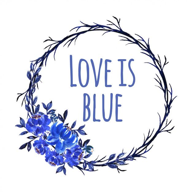 Mooie aquarel bloem blauwe krans Premium Vector