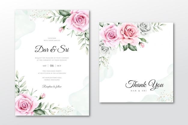 Mooie aquarel bloemen bruiloft uitnodiging sjablonen Premium Vector