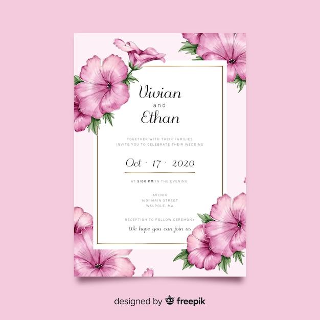 Mooie aquarel bloemen bruiloft uitnodiging sjabloon Gratis Vector