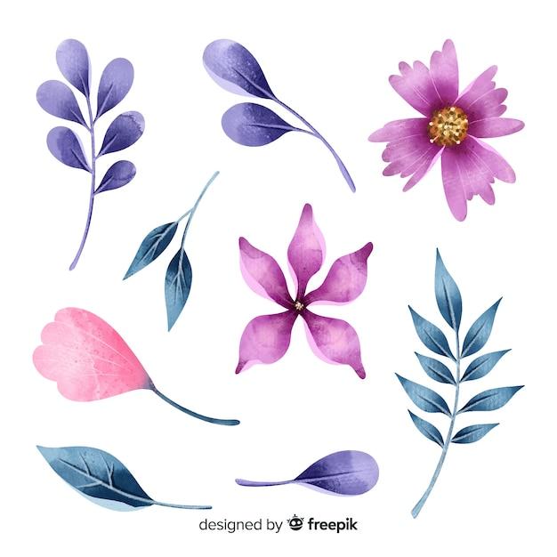 Mooie aquarel bloemen en bladeren Gratis Vector