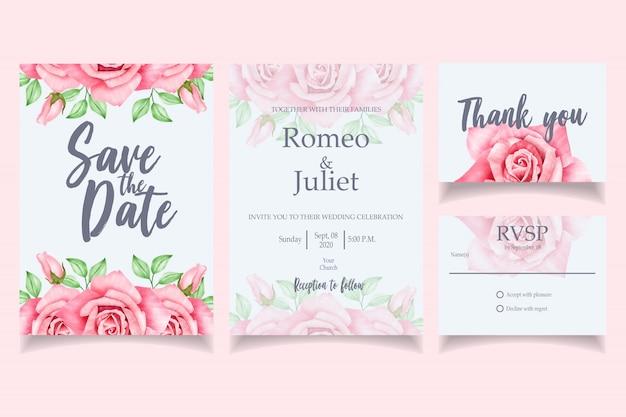 Mooie aquarel bruiloft uitnodiging kaartsjabloon rood Premium Vector