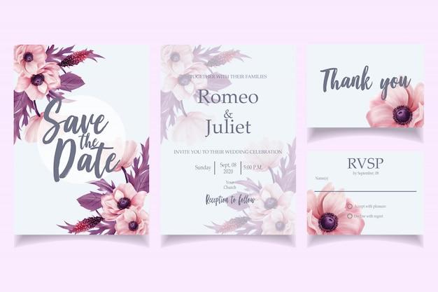 Mooie aquarel bruiloft uitnodiging kaartsjabloon roze Premium Vector