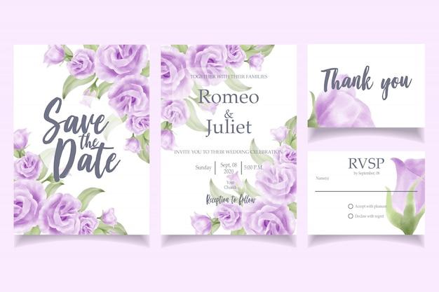 Mooie aquarel bruiloft uitnodiging kaartsjabloon steeg Premium Vector