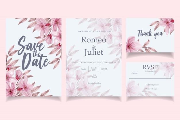 Mooie aquarel bruiloft uitnodiging kaartsjabloon Premium Vector