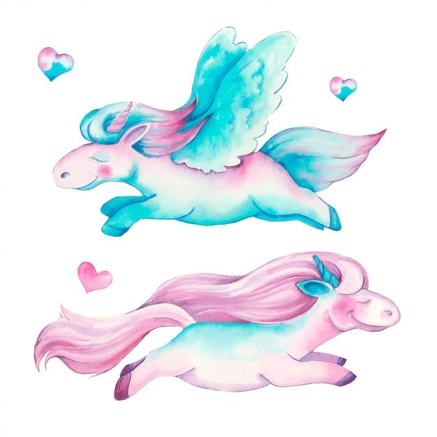 Mooie aquarel eenhoorns in roze en paarse kleuren Premium Vector