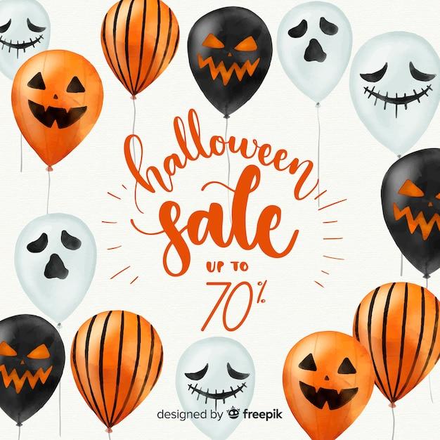 Mooie aquarel halloween verkoop samenstelling Gratis Vector