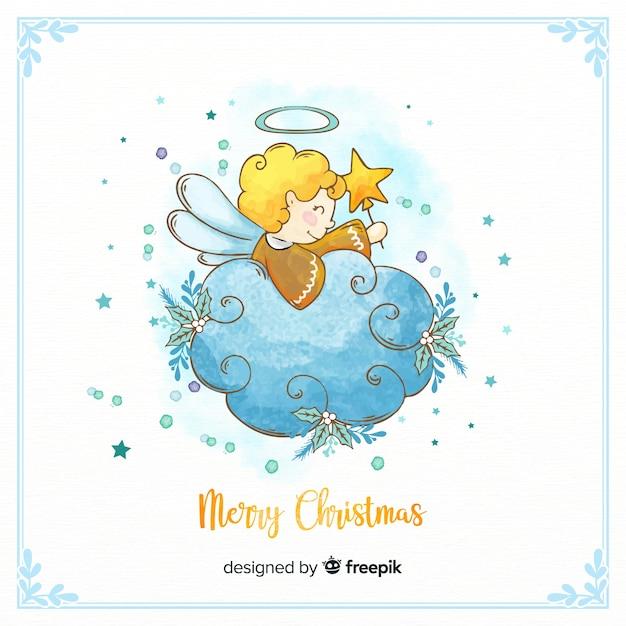 Mooie aquarel kerst engel Gratis Vector