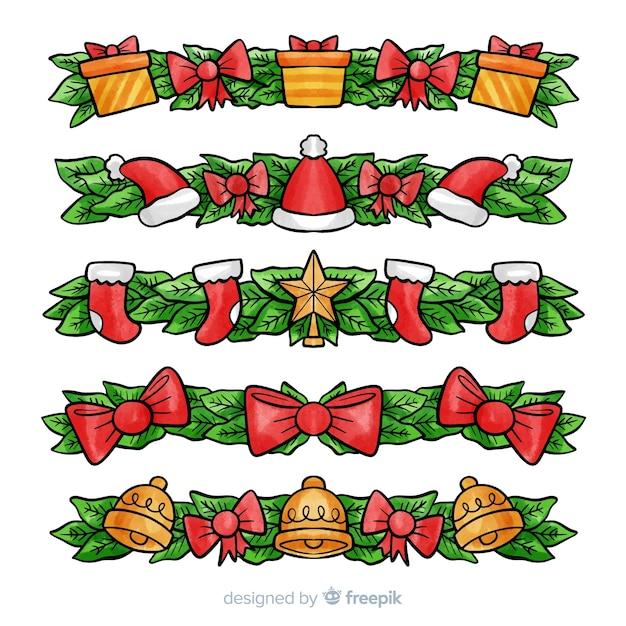 Mooie aquarel kerst ornament collectie Gratis Vector