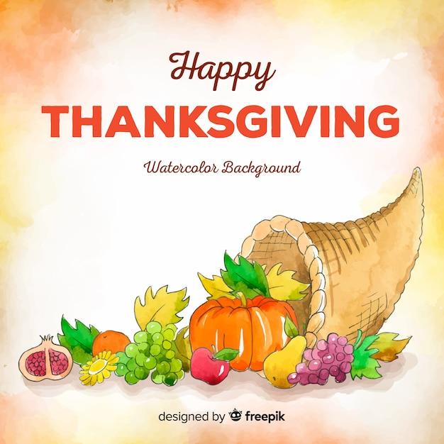 Mooie aquarel thanksgiving achtergrond Gratis Vector
