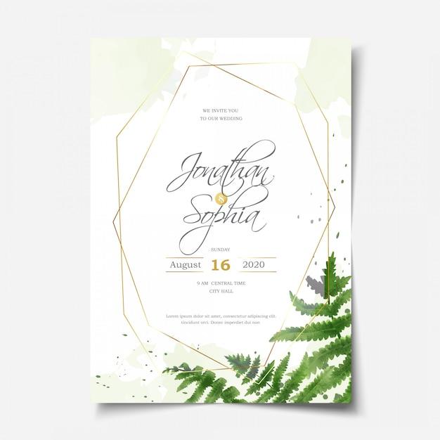 Mooie aquarel varen gebladerte bruiloft uitnodiging Premium Vector