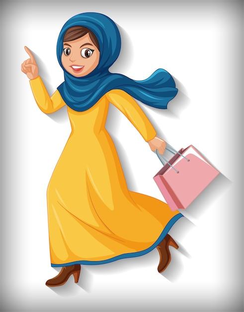 Mooie arabische dame stripfiguur Gratis Vector