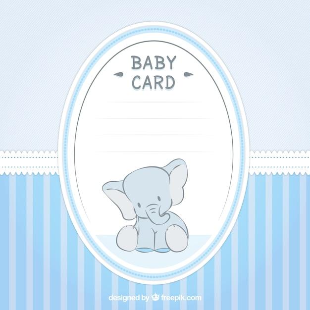Mooie baby shower kaart met een olifant Gratis Vector