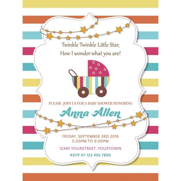 Mooie baby shower kaart met kinderwagen Gratis Vector