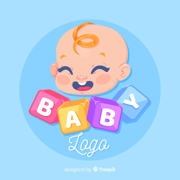 Mooie baby winkel logo sjabloon met moderne stijl Gratis Vector