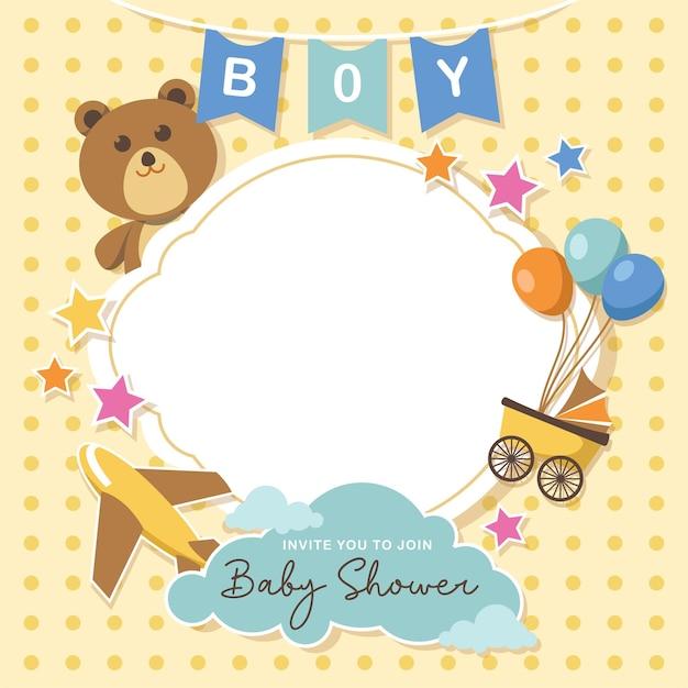 Mooie babydouche kaart met lege ruimte Premium Vector
