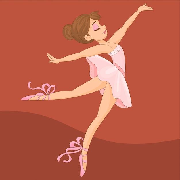 Mooie ballerina die bij dansstudio uitoefent Premium Vector