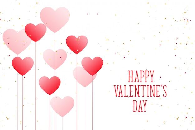 Mooie ballon harten gelukkige valentijnsdag wenskaart Gratis Vector