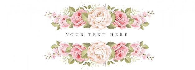 Mooie banner bloemen en bladeren sjabloon Gratis Vector