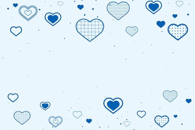Mooie blauwe achtergrond met randen versierd met hartjes Gratis Vector