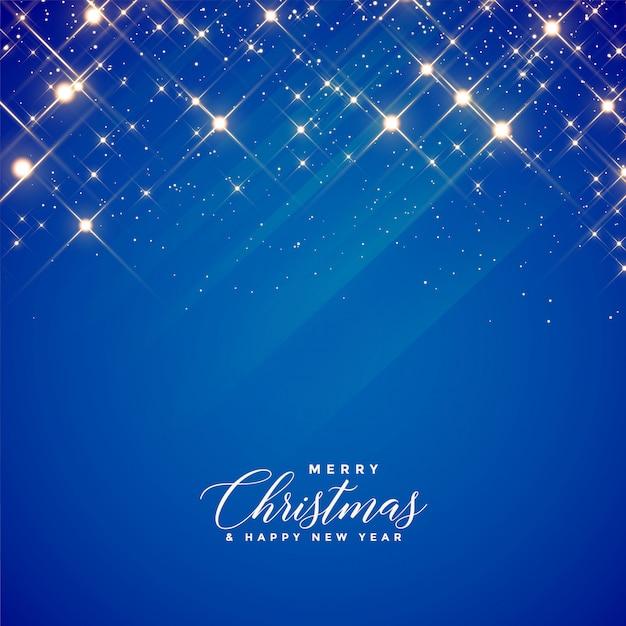 Mooie blauwe fonkelingenachtergrond voor kerstmisseizoen Gratis Vector