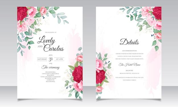 Mooie bloeiende bloemen bruiloft uitnodiging kaartenset Gratis Vector