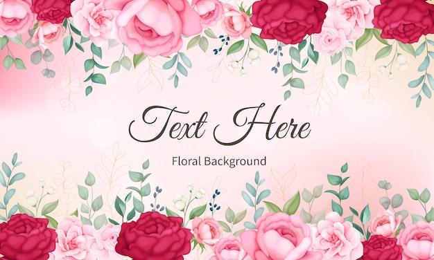 Mooie bloeiende bloemen en bladerenachtergrond Gratis Vector