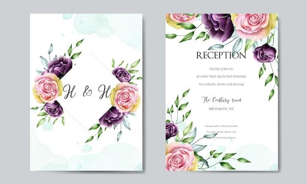 Mooie bloem bruiloft kaartsjabloon Premium Vector