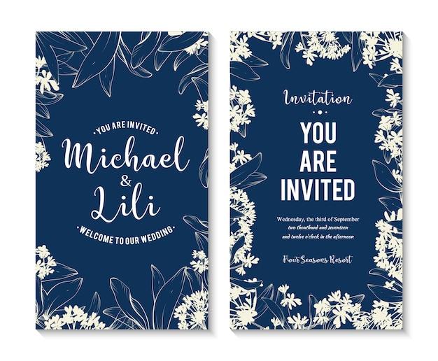 Mooie bloemen banners instellen. element voor ontwerp of uitnodigingskaart Gratis Vector