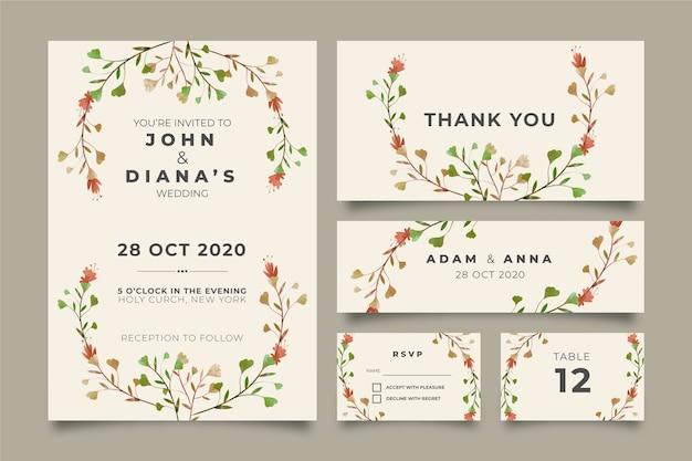 Mooie bloemen bruiloft briefpapier Gratis Vector