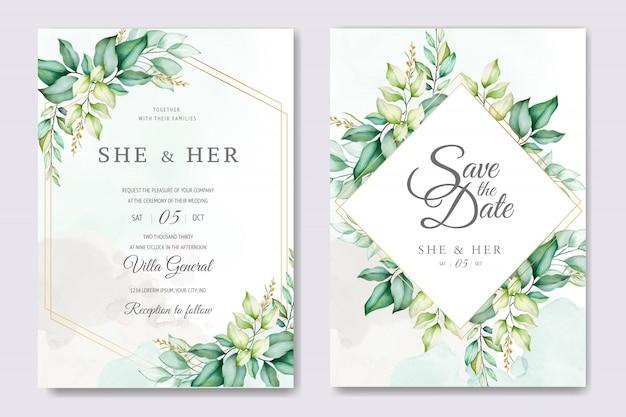 Mooie bloemen bruiloft kaartsjabloon met aquarel rozen en bladeren Premium Vector