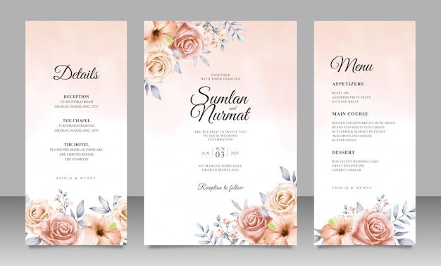 Mooie bloemen bruiloft uitnodiging kaartsjabloon met aquarel achtergrond Premium Vector