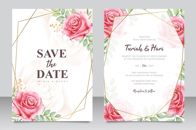 Mooie bloemen bruiloft uitnodiging kaartsjabloon met gouden frame Premium Vector