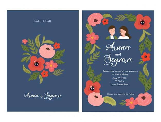 Mooie bloemen bruiloft uitnodiging kaartsjabloon met paar bruid en bruidegom illustratie op blauw Premium Vector