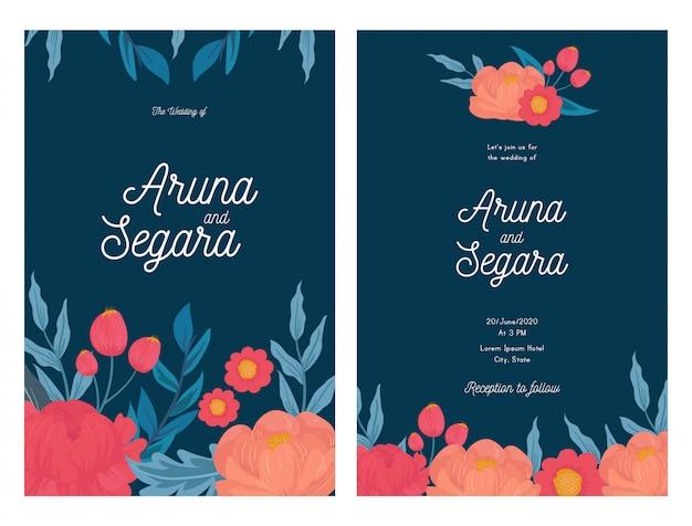 Mooie bloemen bruiloft uitnodiging kaartsjabloon Premium Vector