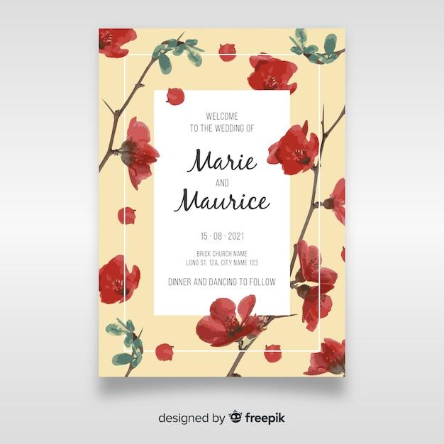 Mooie bloemen bruiloft uitnodiging sjabloon Gratis Vector