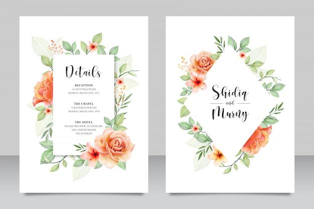 Mooie bloemen bruiloft uitnodigingskaart Premium Vector