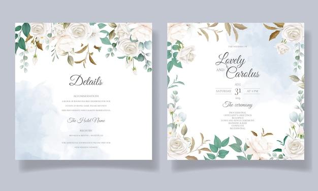 Mooie bloemen en bladeren bruiloft uitnodigingskaart Gratis Vector