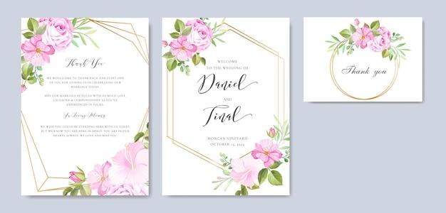 Mooie bloemen en bladeren frame en bruiloft achtergrond sjabloon Premium Vector